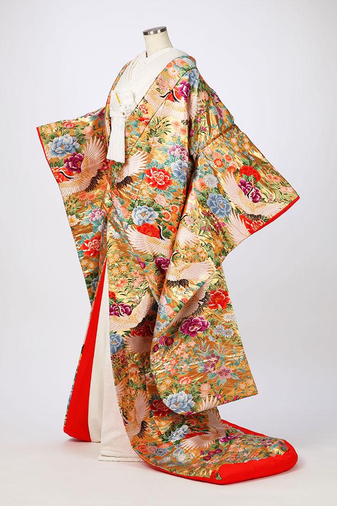 金箔花飾に鶴