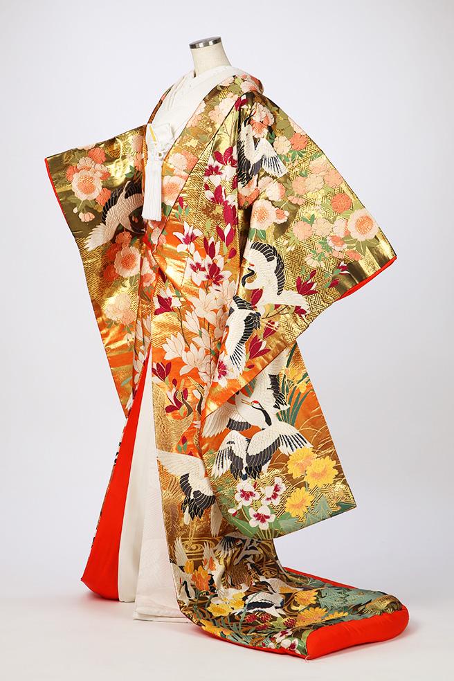 木蓮に鶴の舞