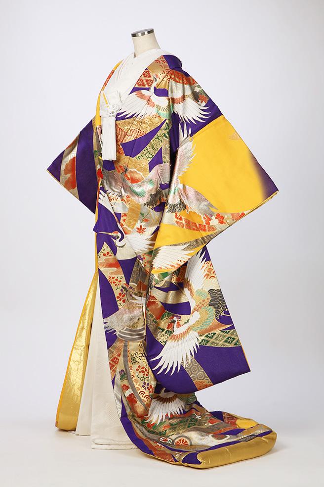 桂由美・黄紫地のしめ鶴