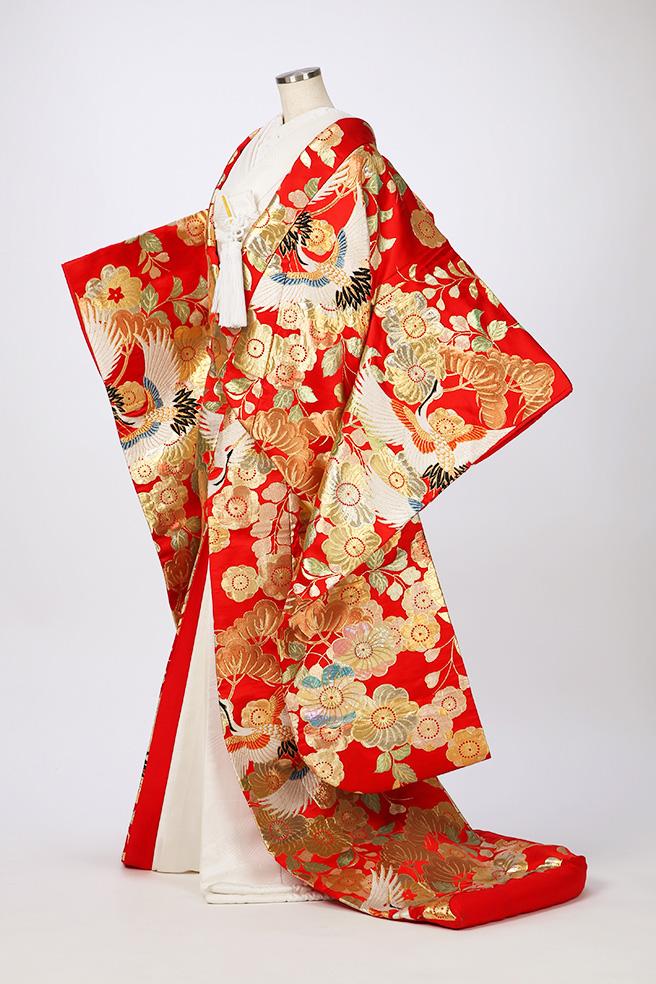 赤地金桜鶴
